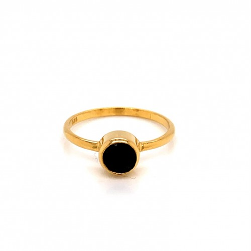 k14 gold ring with Black Spinel