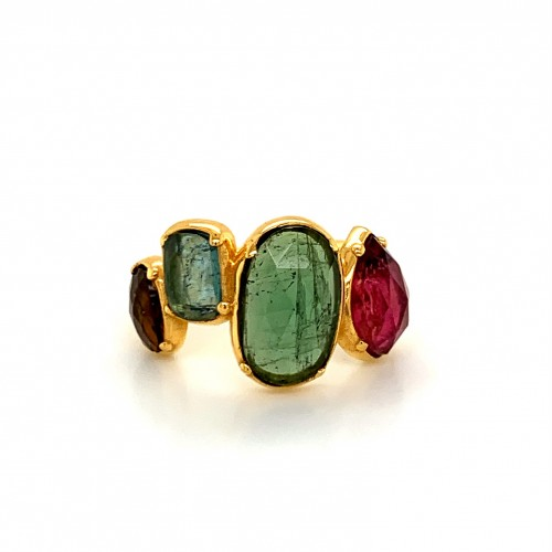 k14 gold ring with 4 Rosecut Turmalines