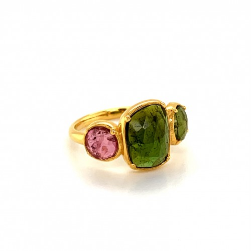 K14 gold ring with 3 Rosecut Turmalines