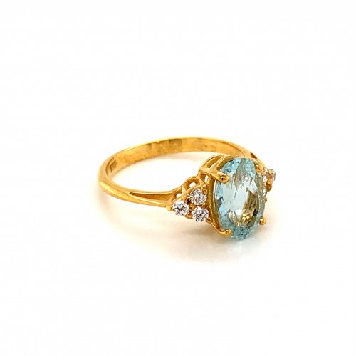 k14 gold ring Oval Aquamarine with Cubic Zirgonia