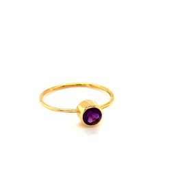 k14 gold ring with round Amethyst