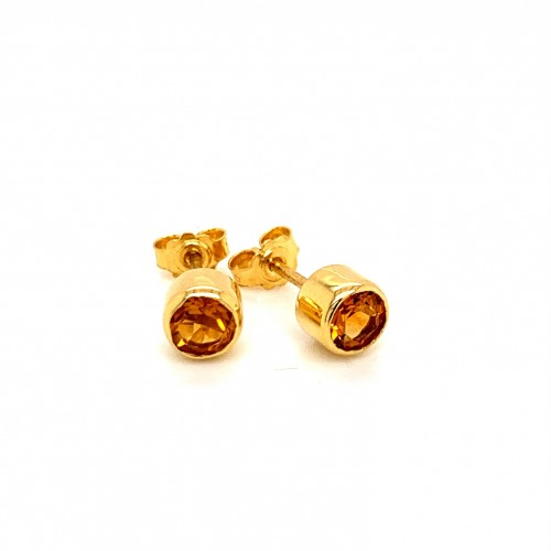 K14 gold earrings with brandy citrine