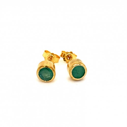 K14 gold earrings with emerald