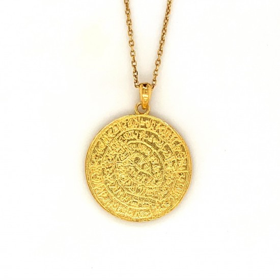 Necklace Phaistos disc, large from sterling silver 925, no4