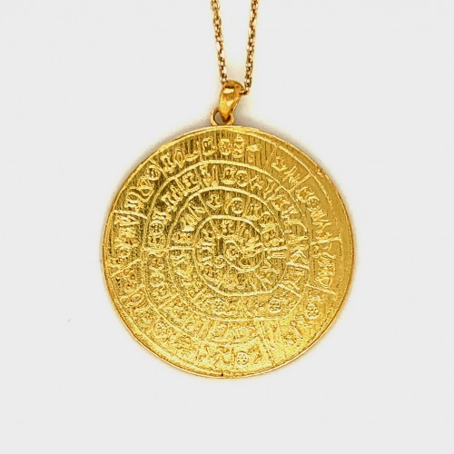Necklace Phaistos disc, x large from sterling silv...