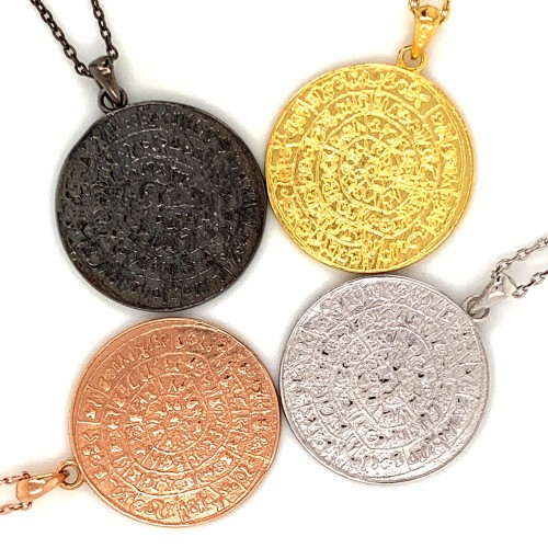 Necklace Phaistos disc, large from sterling silver...
