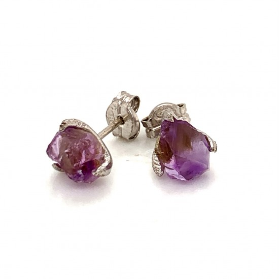 Nairobi earrings with rough Amethyst stone