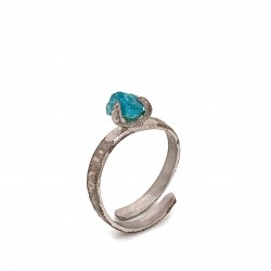 Ring with rough apatite, nairobi collection