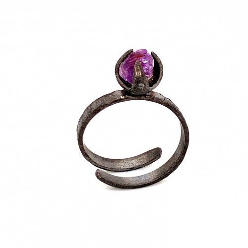 Ring with rough amethyst, nairobi collection, blac...