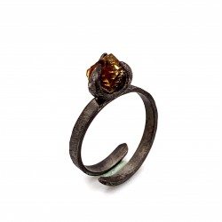 Ring with rough citrine, nairobi collection, black