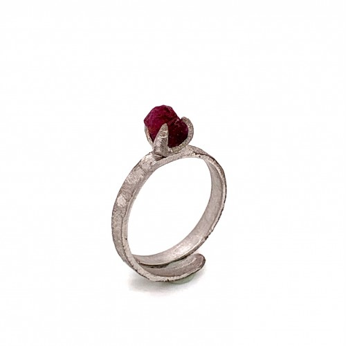 Ring with rough rhodonite, nairobi collection