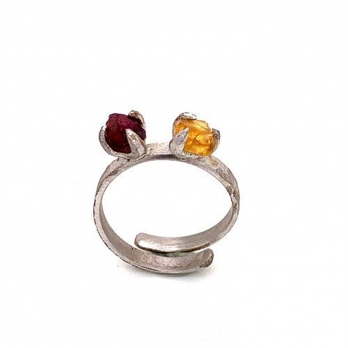 Ring with two rough stones citrine and rhodonite, ...
