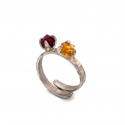 Ring with two rough stones citrine and rhodonite, nairobi collection
