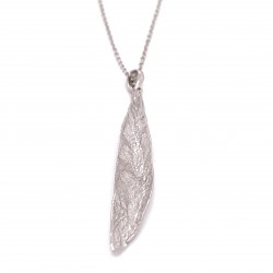 Necklace olive leaf, organic shape from sterling silver rhodium plated