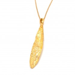 Necklace olive leaf, organic shape from sterling silver gold plated