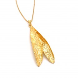 Necklace double olive leaves, organic shape from sterling silver gold plated