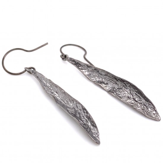 Earrings olive leaf from sterling silver,organic shape black rhodium plated