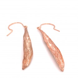 Earrings olive leaf from sterling silver,organic shape rose gold plated
