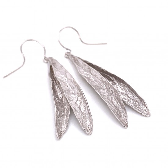 Earrings olive leaf from sterling silver,organic shape rhodium plated