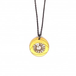 Chain necklace with a round silver motif protection eye