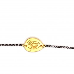 Bracelet with a chain and a unique motif protection eye small