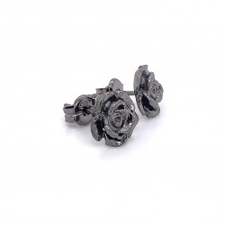 Earrings rose with pin, black rhodium plated silver, S size