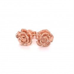 Earrings rose with pin, black rose gold plated silver, S size