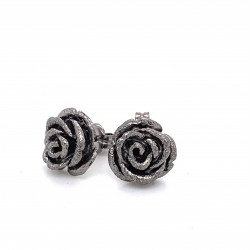 Earrings rose with pin, black rhodium plated siver, Med size
