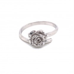 Ring rose, adjustable, silver, small