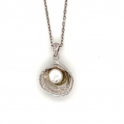 Shell pendant with freshwater pearl from 925 sterling silver rhodium plated