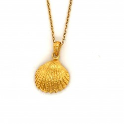 Shell pendant with freshwater pearl from 925 sterling silver gold plated