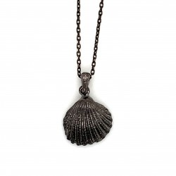 Shell pendant with freshwater pearl from 925 sterling silver black rhodium plated