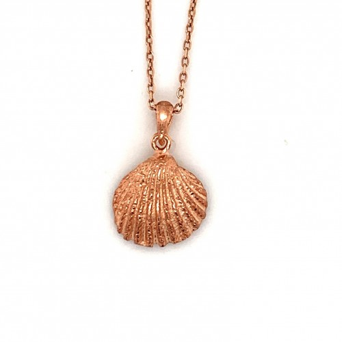 Shell pendant with freshwater pearl from 925 sterl...