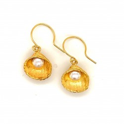 Shell earrings with hook and fresh water pearl from 925 sterling silver gold plated