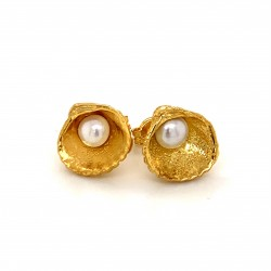 Shell earrings with pin and fresh water pearl from 925 sterling silver gold plated