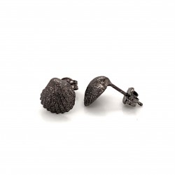 Shell mini pin earrings from sterling silver with black rhodium plating