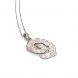 Necklace melted spiral, rhodium plated silver, small