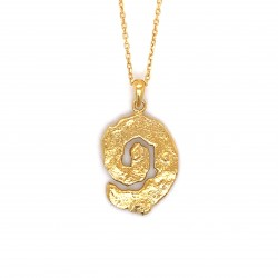 Necklace melted spiral, gold plated silver, small