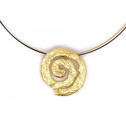 Necklace melted spiral, gold plated silver, medium