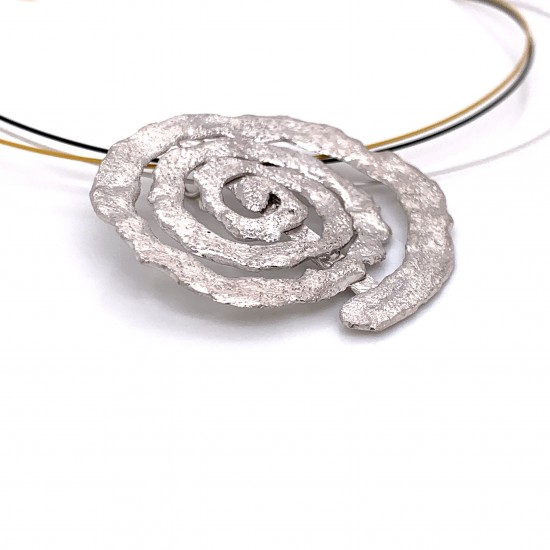 Necklace melted spiral, rhodium plated silver, xl2