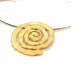 Necklace melted spiral, gold plated silver, xl