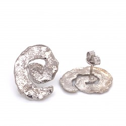 Earrings with pin, melted spiral from rhodium plated silver