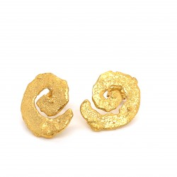 Earrings with pin, melted spiral from gold plated silver