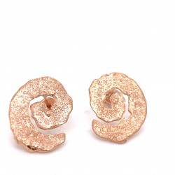 Earrings with pin, melted spiral from rose gold plated silver