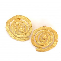 Earrings with pin, melted spiral from gold plated silver, large