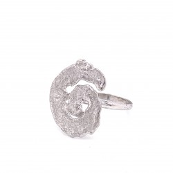 Ring melted spiral, rhodium plated silver, small