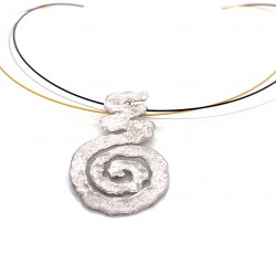 Necklace melted spiral, rhodium plated silver