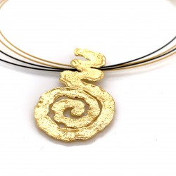 Necklace melted spiral, gold plated silver