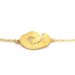 Bracelet melted spiral, gold plated silver, small