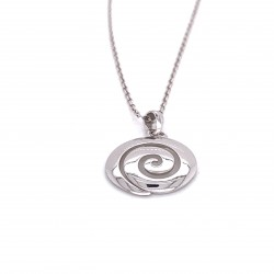 Spiral necklace archaic greek classic design, silver shiny finish